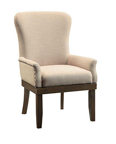 ACME Landon Arm Chair (1Pc), Beige Linen & Salvage Brown