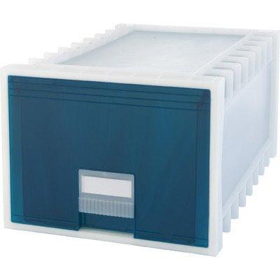 Storex Plastic Archive Storage Box, Letter/Legal, 24-Inch Drawer, White/Green