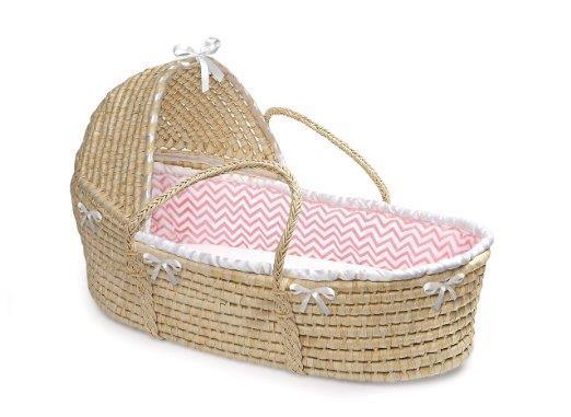 Natural Hooded Moses Basket-Chevron Bedding