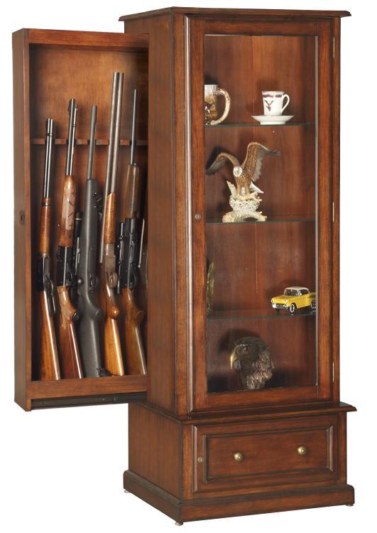 American Furniture Classics Model 611, RTA-10 Gun/Curio Slider Cabinet Combination