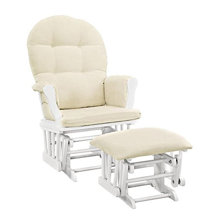 Angel Line Windsor Glider and Ottoman, White w/ Beige Cushion