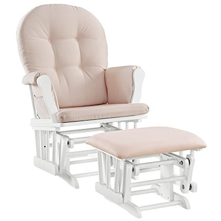 Angel Line Windsor Glider and Ottoman, White w/ Pink Cushion