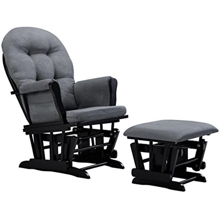 Angel Line Windsor Glider and Ottoman, Black w/ Dark Gray Cushion