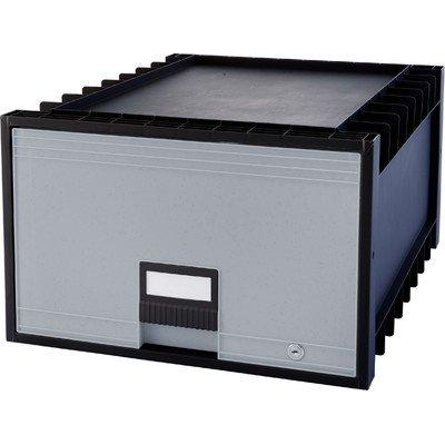 Storex Archive Storage Box, Legal Size, 24-Inch Depth, Black/Gray