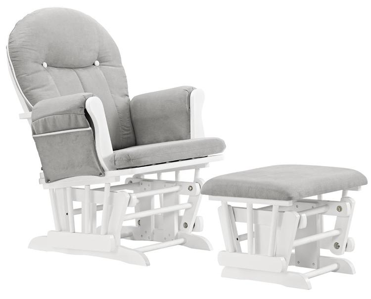 Angel Line Celine Glider and Ottoman, White w/ Gray Cushion and White Piping Cushion