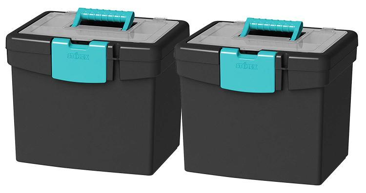 Storex Portable File Box, Black/Gray, 2-Pack