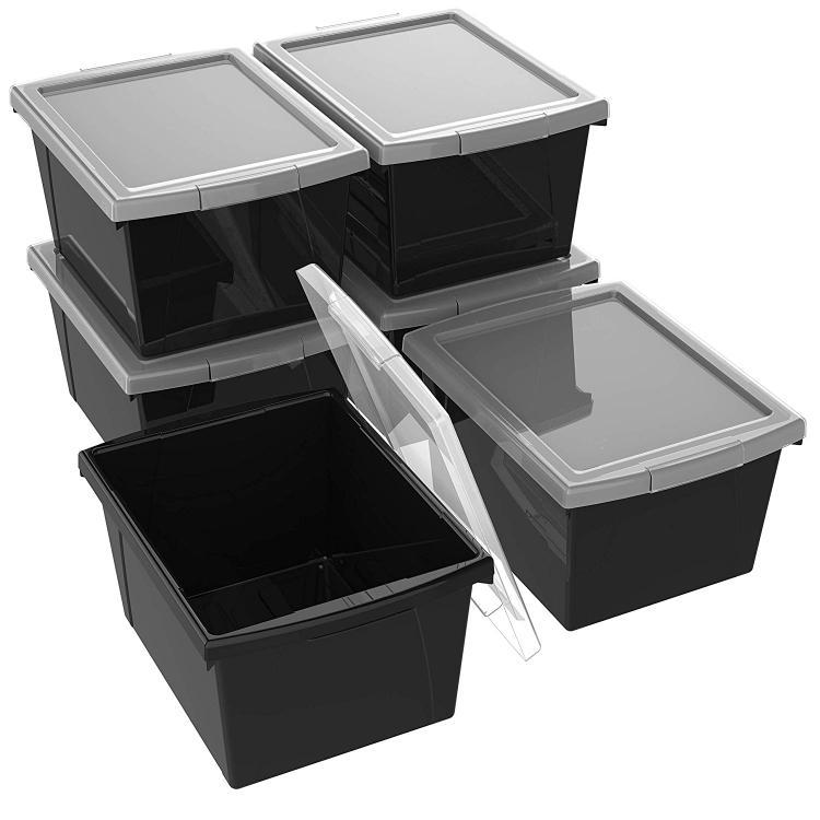 Storex Classroom Storage Portable Cubby Bin, Black, 6-Pack