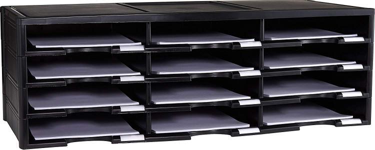 Storex 12 Compartment Organizer, Black