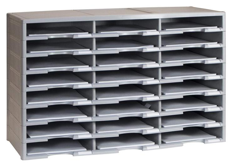 Storex 24 Compartment Literature Organizer, Black