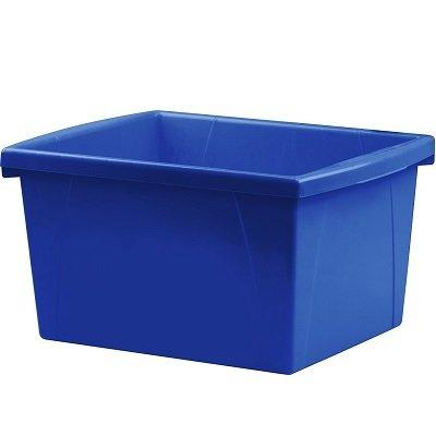Storex 4 Gallon (15L) Classroom Storage Bin, Blue, 6-Pack