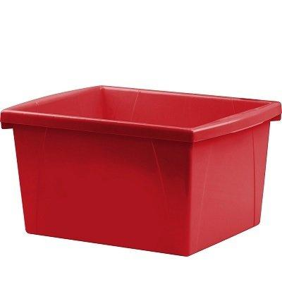 Storex 4 Gallon (15L) Classroom Storage Bin, Red, 6-Pack