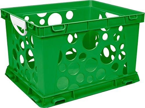 Storex Premium File Crate with Handles, Classroom Green, 3-Pack