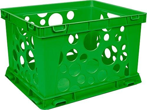Storex Large Classroom File Crate, Green, 3-Pack