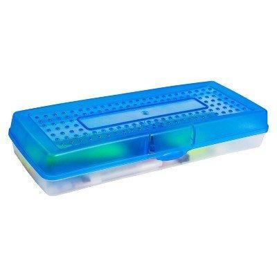 Storex Stretch Pencil Case, Blue, 12-Pack