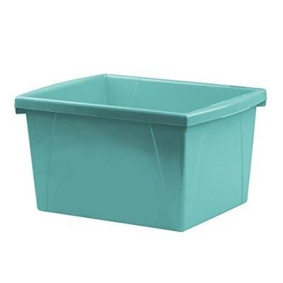 Storex 4 Gallon (15L) Classroom Storage Bin, Teal, 6-Pack