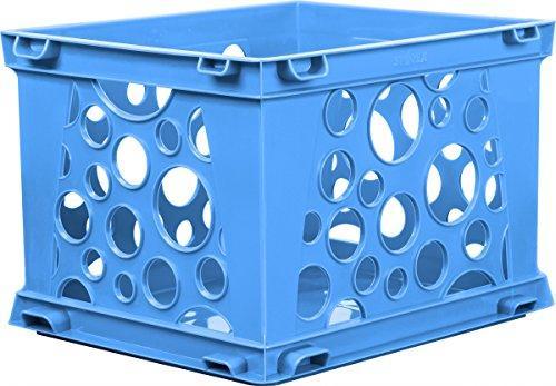 Storex Mini Crate, School Blue, 3-Pack