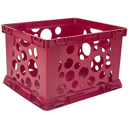 Storex Mini Crate, School Red, 3-Pack