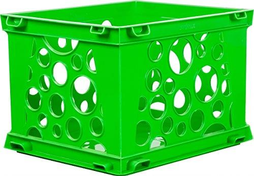 Storex Mini Crate, School Green, 3-Pack