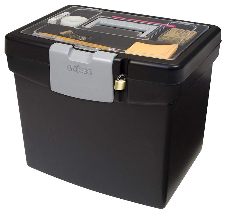 Storex Portable File Box, Black/Gray, 2-Pack [Item # 61504B02C]