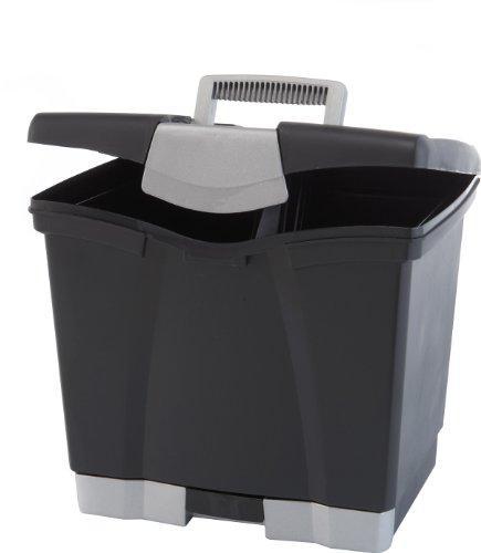 Storex Portable File Box with Drawer, Black [Item # 61513U01C]
