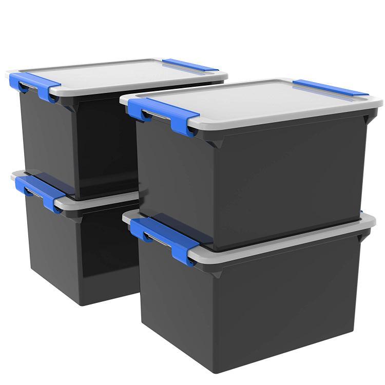 Storex Storage File Tote with Locking Handles, Black/Silver, 4-Pack