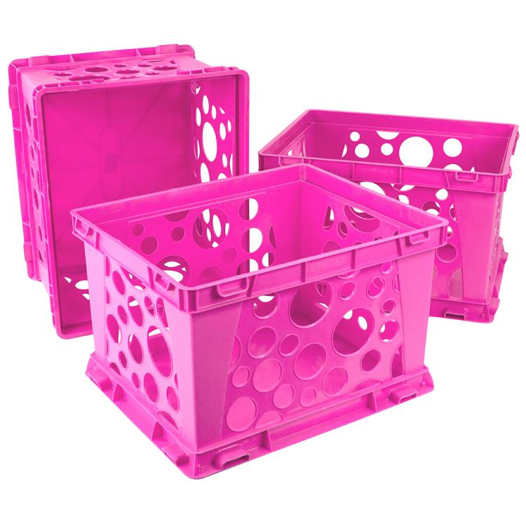 Storex Large Storage Crate, 3-Pack, Black
