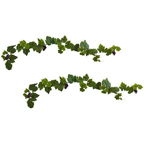 Nearly Natural 6? Grape Leaf Deluxe Garland w/Grapes (Set of 2)