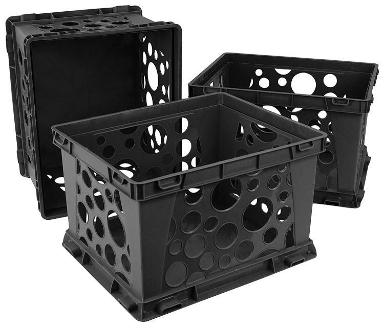 Storex Mini Crate, Black, 3-Pack
