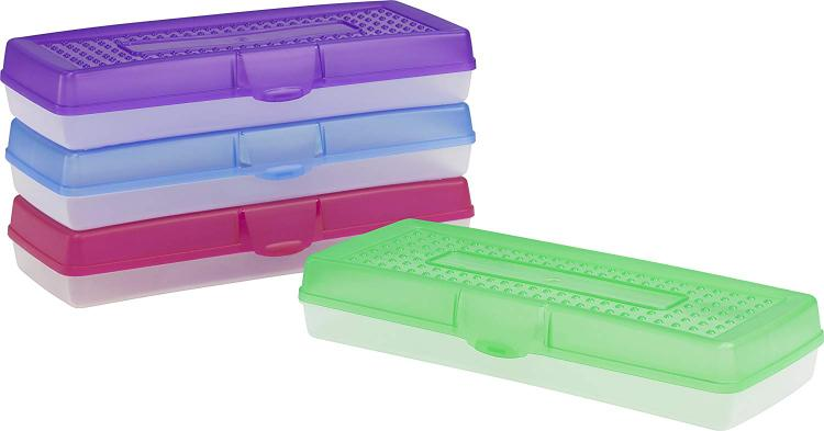 Storex Long Pencil Case, Assorted Colors, 12-Pack