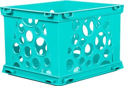 Storex Mini Crate, School Teal, Case 3