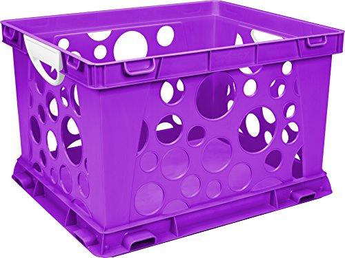Storex Large Storage and Filing Crate with Comfort Handles, Purple/White, 3-Pack