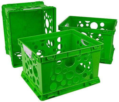 Storex Large Storage and Filing Crate with Comfort Handles, Green/White (Case of 3)