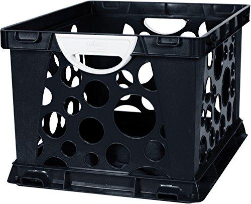 Storex Large Storage and Filing Crate with Comfort Handles, Black/White, 3-Pack