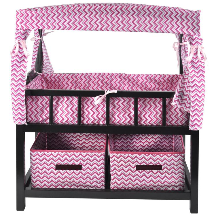 Naomi Home Kids Canopy Doll Crib with Baskets