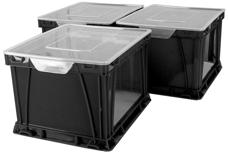 Storex Storage and Filing Cube, Black, 3-Pack