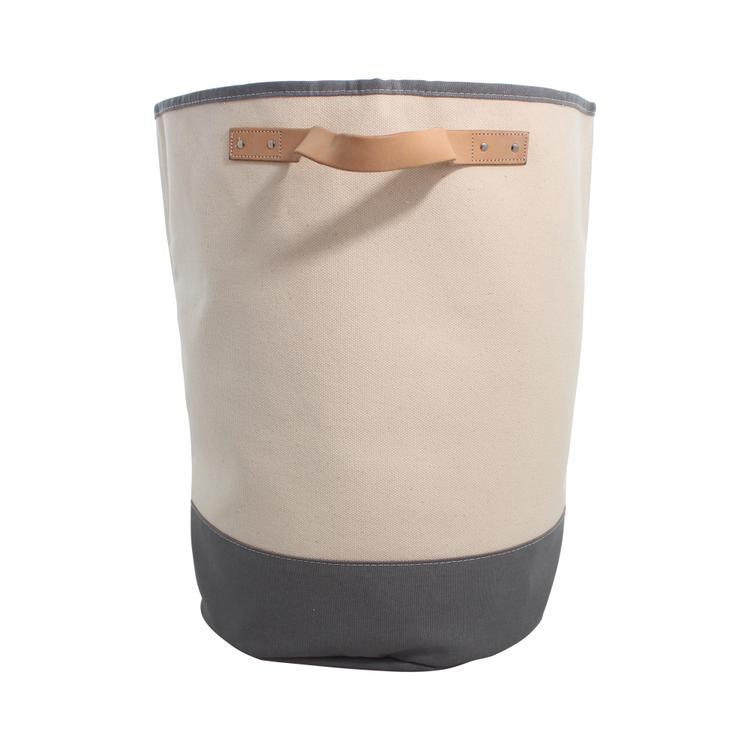 Hamper Gray Storage Leather Handle