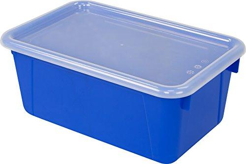 Storex Small Cubby Bin with Cover, Classroom Blue, 5-Pack