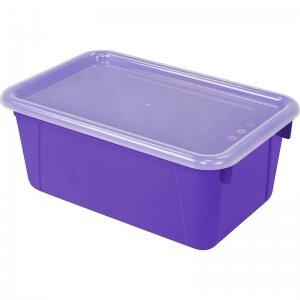Storex Small Cubby Bin with Cover, Classroom Purple, 5-Pack