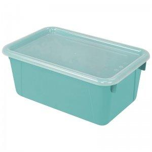 Storex Small Portable Cubby Bin with Cover, Teal, 5-Pack