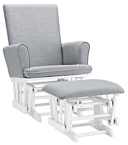 Angel Line Ashley Semi-Upholstered Glider and Ottoman, White with Gray Cushion [Item # 62622-21]