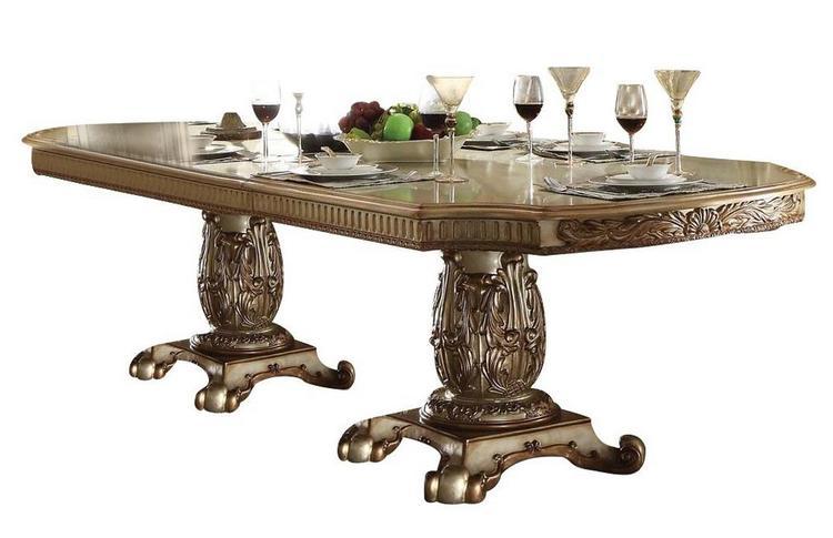 ACME Vendome Dining Table w/Double Pedestal, Gold Patina & Bone (1Set/3Ctn)