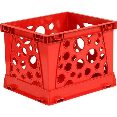 Storex Micro Crate, Red (Case of 18)