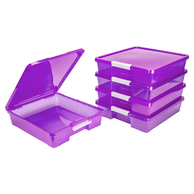 Storex Classroom Student Project Box, 12 x 12 Inches, Transparent Purple, 5-Pack