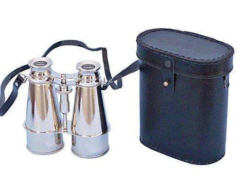 Captains Chrome Binoculars with Leather Case 6''