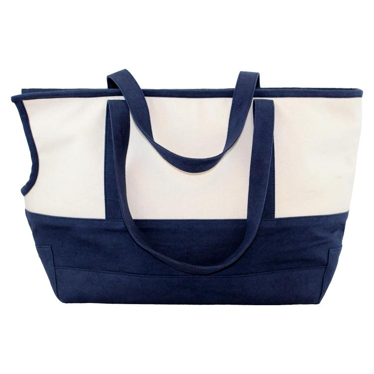Pet Carrier With Cushion lining Natural & Navy
