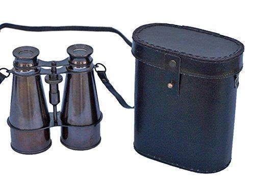 Captain's Oil-Rubbed Bronze Binoculars with Leather Case 6''