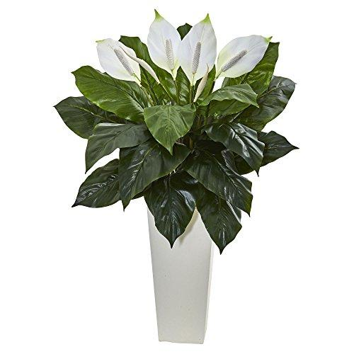 3? Spathiphyllum Artificial Plant in White Tower Planter - [6361E]