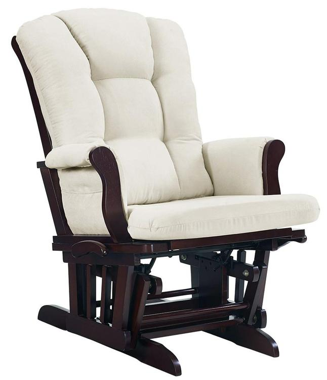 Angel Line Sleigh Multi-Position Reclining Glider, Espresso with Beige Cushion