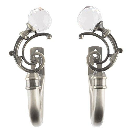 Curtain Holdbacks With Mounting Hardware Decorative Drape Tieback Hooks With Crystal Ball Finials For Home D?cor, Set Of 2 By Lavish Home (Pewter)