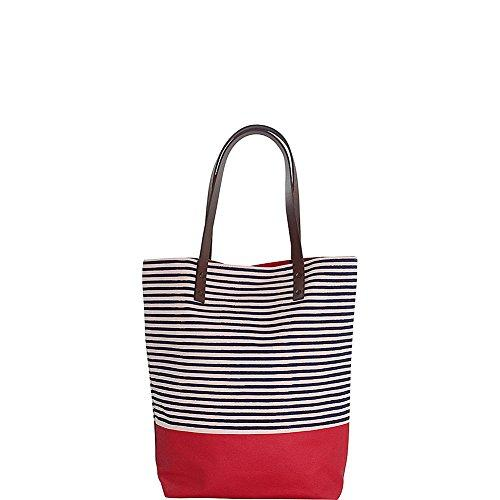 Seaport Stripes Dipped Tote Navy & Red